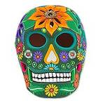 Floral Ceramic Day of the Dead Skull Sculpture from Mexico, 'Cheerful Skull'
