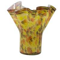 Blown glass vase, 'Amber Fantasy' - Blown Glass Vase Amber Color Crafted by Hand from Mexico