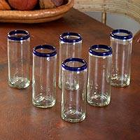 Drinking glasses, 'Cobalt Classics' (set of 6) - Unique Handblown Glass Blue Rim Tumbler Drinkware Mexico