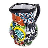 Ceramic cream pitcher, 'Guanajuato Imperial' - Colorful Talavera Style Mexican Majolica 30 oz Cream Pitcher