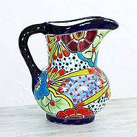 Ceramic pitcher, 'Floral Braids' - Mexican Majolica Talavera Style 94 oz Handmade Pitcher