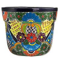 Ceramic flower pot, 'Talavera Beauty' - Ceramic Talavera Style Flower Pot with Floral Motif