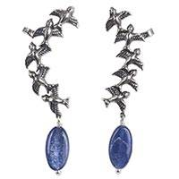 Kyanite earring cuffs, 'Soaring Sparrows' - 925 Sterling Silver Bird Earring Cuffs with Kyanite