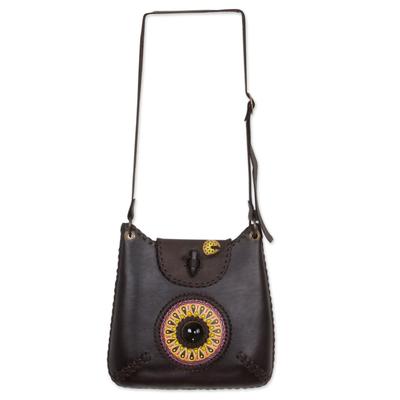 Leather and obsidian shoulder bag, 'Tikal' - Artisan Crafted Brown Leather and Obsidian Shoulder Bag