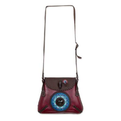 Leather and obsidian shoulder bag, 'Uxmal' - Artisan Crafted Dark Red Leather and Obsidian Shoulder Bag