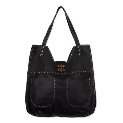 Leather shoulder bag, 'Litsa in Black' - Multi Pocket Black Leather Shoulder Bag Handmade in Mexico