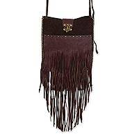 Leather shoulder bag, 'Playa Wanderer' - Mexico Artisan Crafted Brown Leather and Suede Shoulder Bag