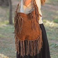 Leather shoulder bag, 'Sierra Wanderer' - Honey Brown Suede Leather Shoulder Bag Handmade in Mexico