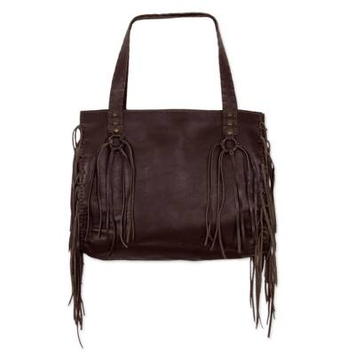 Chocolate Brown Leather Shoulder Bag with Lateral Pockets