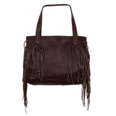 Leather shoulder bag, 'Boho Mex' - Chocolate Brown Leather Shoulder Bag with Lateral Pockets