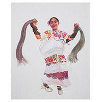 'Little Dancer' (2005) - Signed Crayon and Pencil Painting of Young Yucatan Dancer