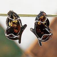 Amber button earrings, 'Golden Monarch' - Sterling Silver Monarch Butterfly Amber Button Earrings
