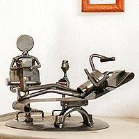 Upcycled auto parts sculpture, 'Rustic Psychoanalysis' - Upcycled Metal Rustic Psychiatrist Sculpture from Mexico