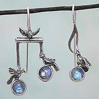 Rainbow moonstone drop earrings, 'Bird Harmony' - Sterling Silver Musical Bird Earrings with Rainbow Moonstone