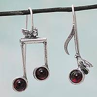 Garnet drop earrings, 'Bird Melodies' - Birds on Musical Notes Sterling Silver Earrings with Garnet