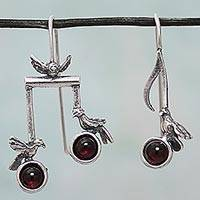 Garnet drop earrings, 'Bird Harmony' - Birds on Musical Notes Sterling Silver Earrings with Garnet