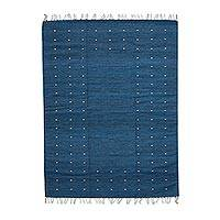 Zapotec wool rug, 'Stars in the Sky' (4.5x6.5) - Authentic Artisan Handwoven Zapotec Blue Wool Rug 4.5 x 6.5