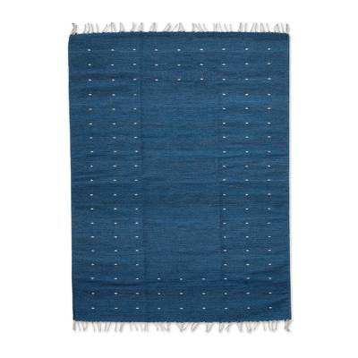 Zapotec wool rug, 'Stars in the Sky' (4x6.5) - Authentic Artisan Handwoven Zapotec Blue Wool Rug 4 x 6.5