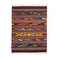 Zapotec wool rug, 'Feathered Shield' (4.5x6.5)