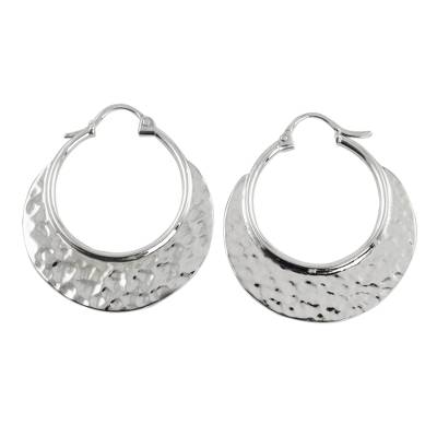 Sterling silver hoop earrings, 'Rustic Elegance' - Hand Crafted Sterling Silver Hammered Hoop Earrings