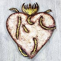 Steel wall art, 'Heart Aflame' - Rustic Sacred Heart Theme Steel Wall Art from Mexico