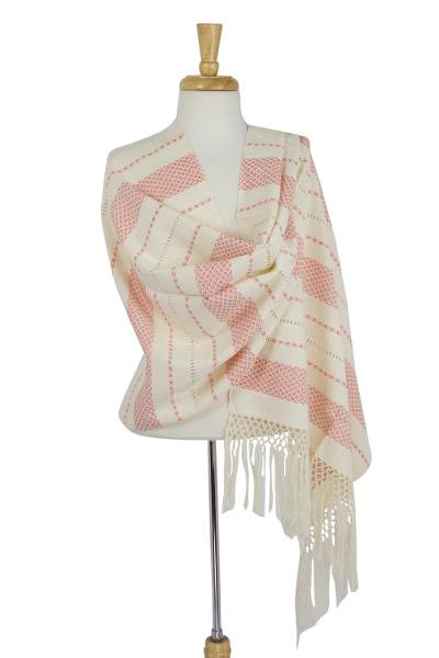 Cotton rebozo shawl, 'Rose Diamonds' - Patterned Rose on Cream Color Cotton Shawl Mexican Rebozo