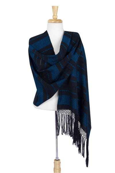 Cotton rebozo shawl, 'Turquoise Diamonds' - Patterned Blue on Black Cotton Shawl Mexican Rebozo