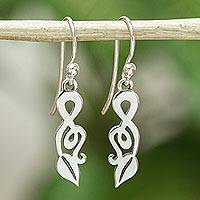 Sterling silver dangle earrings, 'Musical Leaves' - Hand Made Silver Treble Clef Dangle Earrings from Mexico