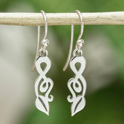 Sterling silver dangle earrings, Musical Leaves