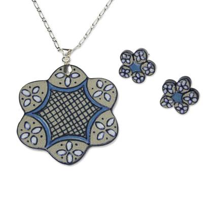 Hand Crafted Ceramic and Sterling Silver Jewelry Set