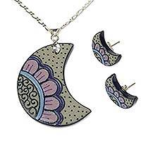 Ceramic and sterling silver jewelry set,