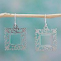 Sterling silver dangle earrings, 'Square Mirror' - Handcrafted Mexican Silver Dangle Earrings