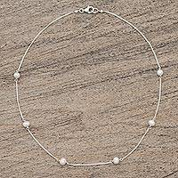 Cultured pearl station necklace,