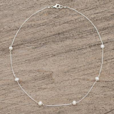 Cultured pearl station necklace, 'Pearl Dance' - Artisan Crafted Cultured Pearl and Sterling Silver Necklace