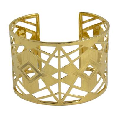 Hand Crafted 22k Gold Plated Silver Geometric Cuff Bracelet