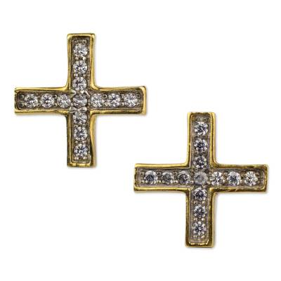 22k Gold Plated Silver Cross Earrings with Cubic Zirconia