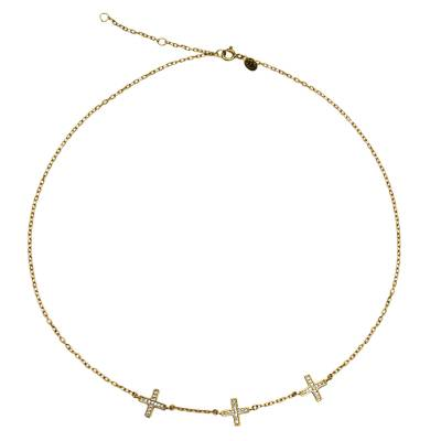 22k Gold Plated Silver Cross Necklace with Cubic Zirconia