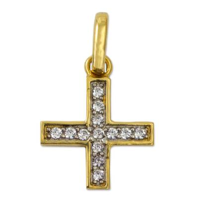 Gold Plated Cubic Zirconia Cross Pendant from Mexico