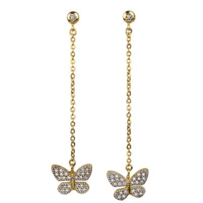 Gold plated dangle earrings, 'Butterfly Sparkle' - Mexican Gold Plated Butterfly Earrings with Cubic Zirconia