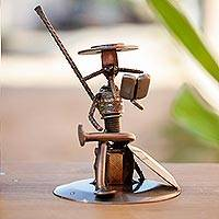 Auto part sculpture, 'Quixote Reads Cervantes' - Eco Friendly Spark Plug Don Quixote Sculpture from Mexico
