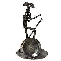 Upcycled auto part sculpture, 'Quixote's Lance' - Handcrafted Upcycled Auto Part Sculpture of Don Quixote