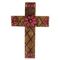 Wood cross, 'Tlaquepaque Rose' - Hacienda Style Wall Cross with Pink Flowers Christian Art