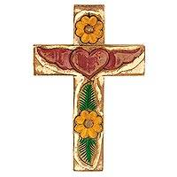 Wood cross, 'Winged Heart' - Hacienda Wall Cross with Heart and Flowers Religious Art