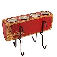Wood candleholder, 'Red Zafra for Four' - Rustic Hacienda Style Wood and Iron Red Candleholder for 4
