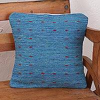 Zapotec wool cushion cover, 'Sky of Oaxaca' - Zapotec Handwoven Blue Wool Cushion Cover