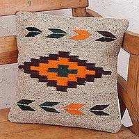 Zapotec wool cushion cover, 'Oaxaca Sun' - Geometric Motif Handwoven Zapotec Wool Cushion Cover