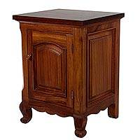 Wood side table, 'Colonial Remembrance' - Hand Carved Colonial Style Wood Side Table