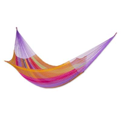 Handcrafted Mayan Nylon Hammock in Tropical Fruit Colors