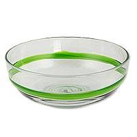 Blown glass bowl, 'Lime Band' - Large Hand Crafted 100 oz Green Stripe Blown Glass Bowl