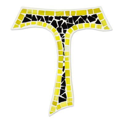 Upcycled Glass Mosaic Tau Cross in Black and Yellow